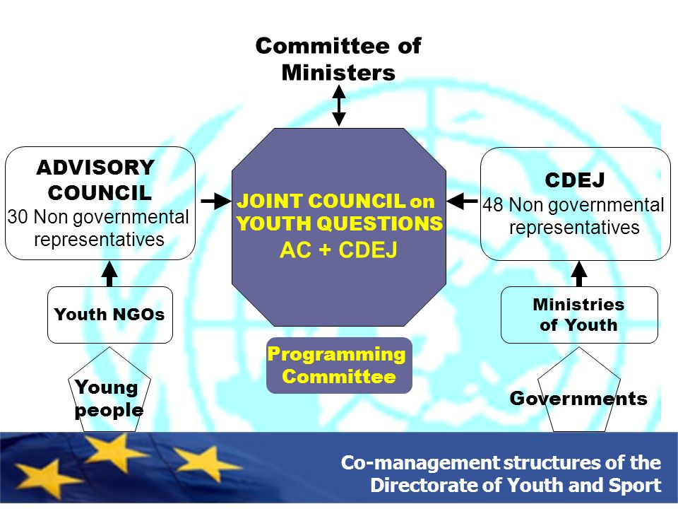 Co-management structures of the Directorate of Youth and Sport JOINT COUNCIL on YOUTH QUESTIONS AC + CDEJ Programming Committee Young people Youth NGOs ADVISORY COUNCIL 30 Non governmental representatives Committee of Ministers Ministries of Youth Governments CDEJ 48 Non governmental representatives