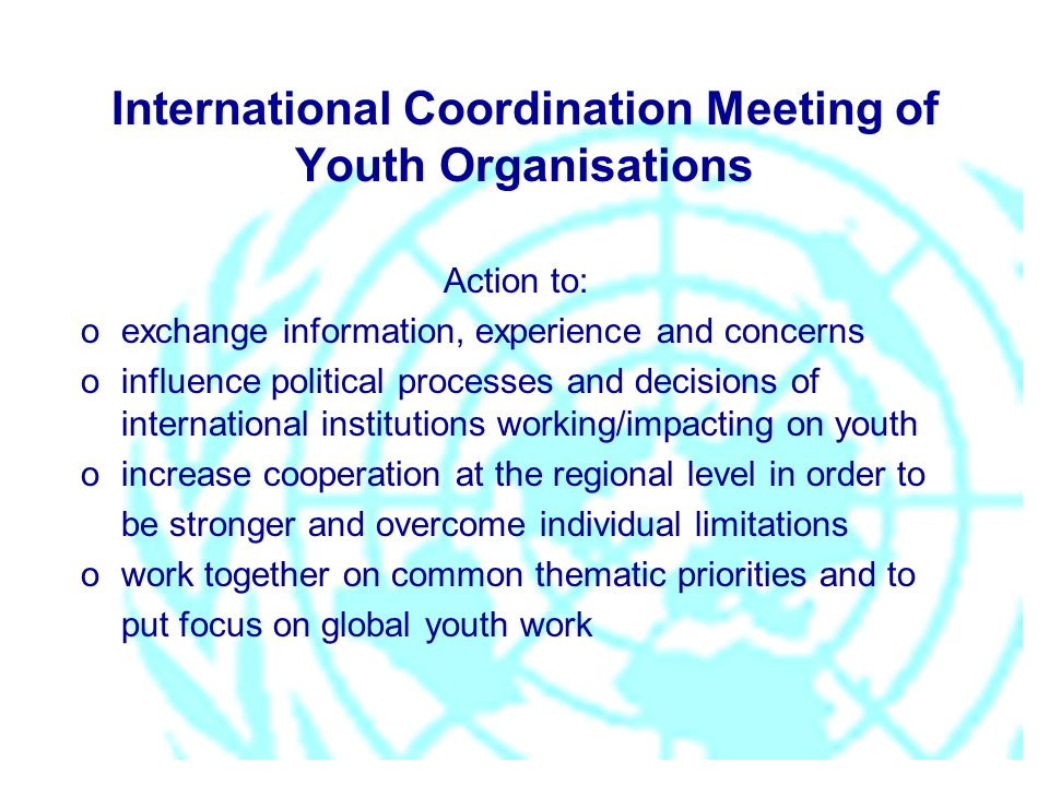 International Coordination Meeting of Youth Organisations Action to: oexchange information, experience and concerns oinfluence political processes and decisions of international institutions working/impacting on youth oincrease cooperation at the regional level in order to be stronger and overcome individual limitations owork together on common thematic priorities and to put focus on global youth work