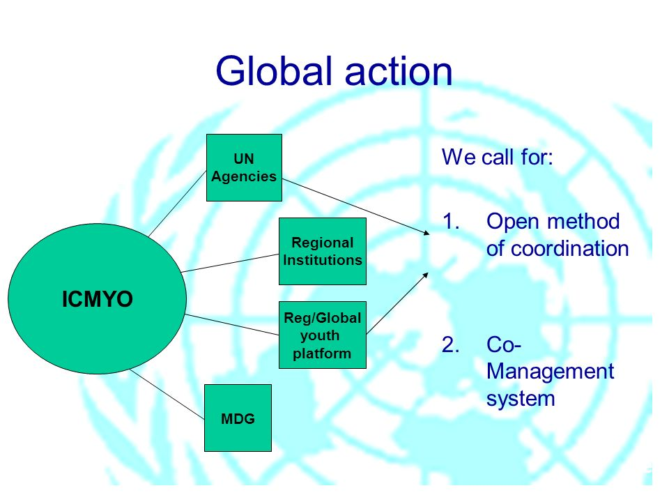 pe ICMYO Global action We call for: 1.Open method of coordination 2.Co- Management system UN Agencies Regional Institutions Reg/Global youth platform MDG
