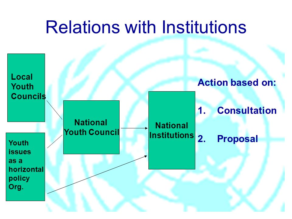 National Youth Council National Institutions Relations with Institutions Action based on: 1.Consultation 2. Proposal Youth issues as a horizontal poli