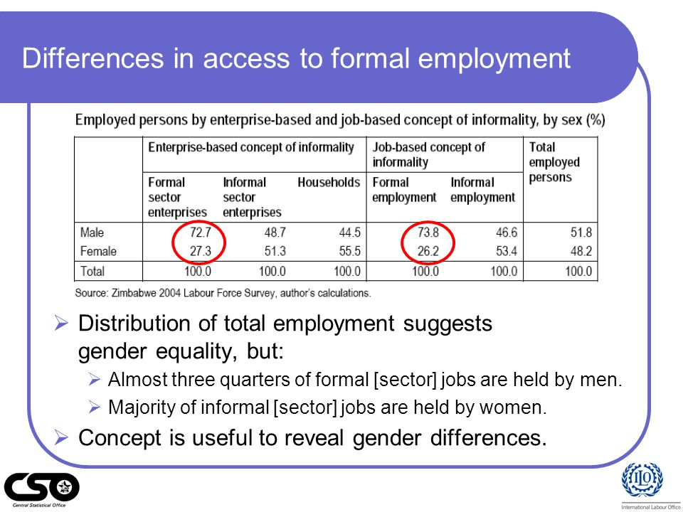 Differences in branch of economic activity and returns to work 2004 LFS shows informal employment is concentrated in agriculture (male: 75.7%, female: 79.5 %).