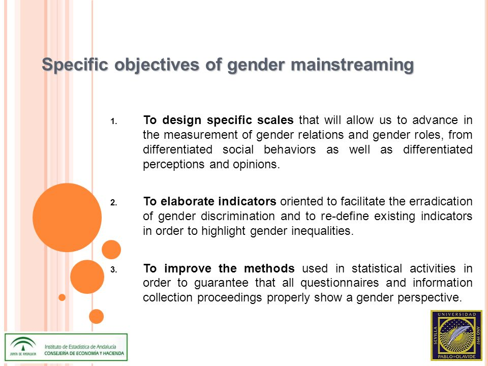 Specific objectives of gender mainstreaming 1.