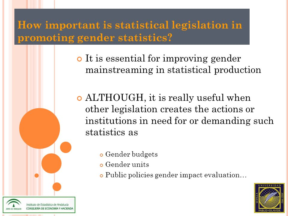 How important is statistical legislation in promoting gender statistics.