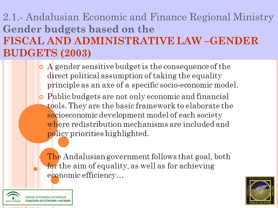 2.1.- Andalusian Economic and Finance Regional Ministry Gender budgets based on the FISCAL AND ADMINISTRATIVE LAW –GENDER BUDGETS (2003) A gender sensitive budget is the consequence of the direct political assumption of taking the equality principle as an axe of a specific socio-economic model.