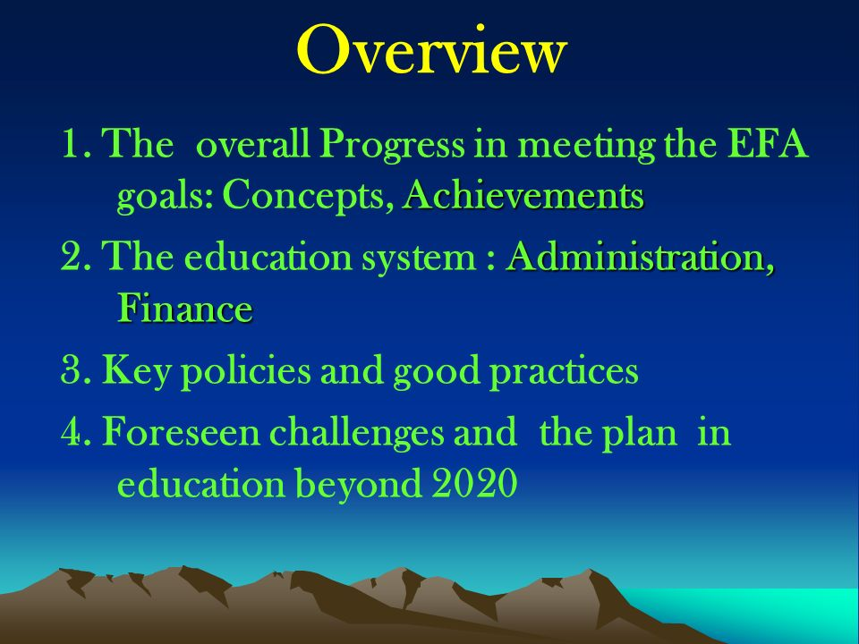 Overview Achievements 1.