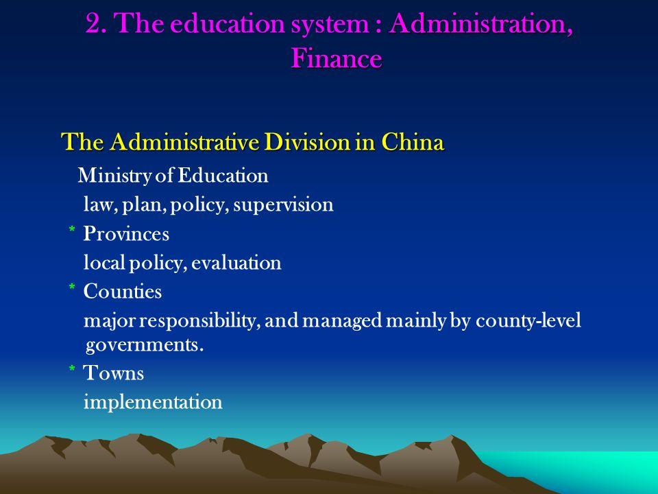 Administration, Finance 2.