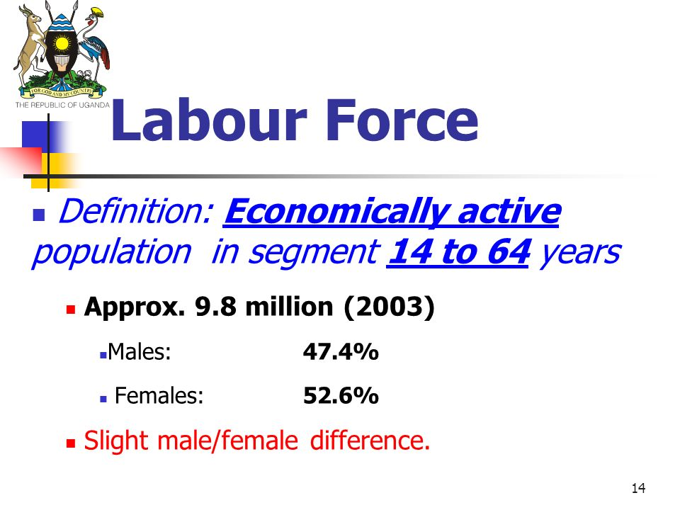 14 Labour Force Definition: Economically active population in segment 14 to 64 years Approx. 9.8 million (2003) Males: 47.4% Females:52.6% Slight male