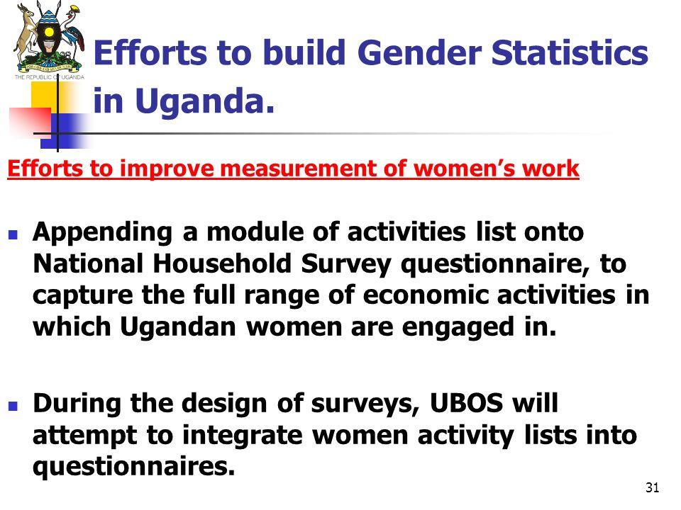 31 Efforts to build Gender Statistics in Uganda. Efforts to improve measurement of womens work Appending a module of activities list onto National Hou