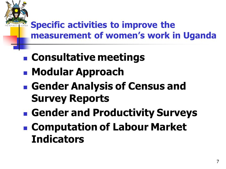 7 Specific activities to improve the measurement of womens work in Uganda Consultative meetings Modular Approach Gender Analysis of Census and Survey