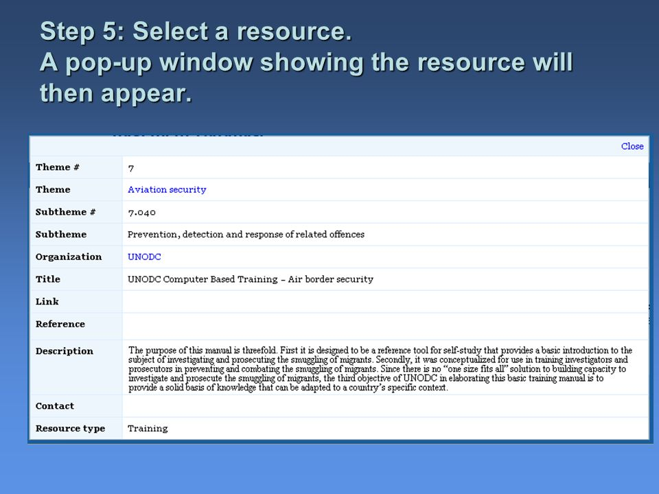 Step 5: Select a resource. A pop-up window showing the resource will then appear.