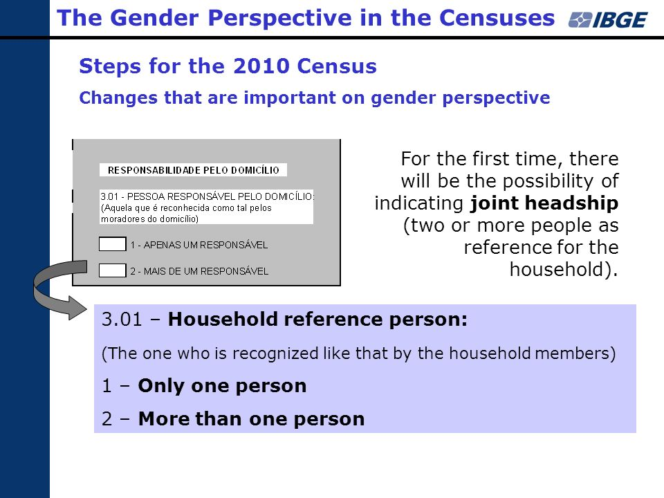 3.01 – Household reference person: (The one who is recognized like that by the household members) 1 – Only one person 2 – More than one person The Gen