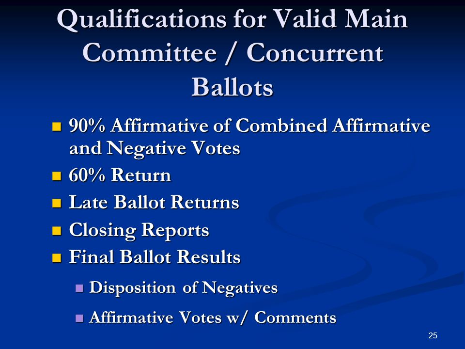 25 Qualifications for Valid Main Committee / Concurrent Ballots 90% Affirmative of Combined Affirmative and Negative Votes 90% Affirmative of Combined Affirmative and Negative Votes 60% Return 60% Return Late Ballot Returns Late Ballot Returns Closing Reports Closing Reports Final Ballot Results Final Ballot Results Disposition of Negatives Disposition of Negatives Affirmative Votes w/ Comments Affirmative Votes w/ Comments