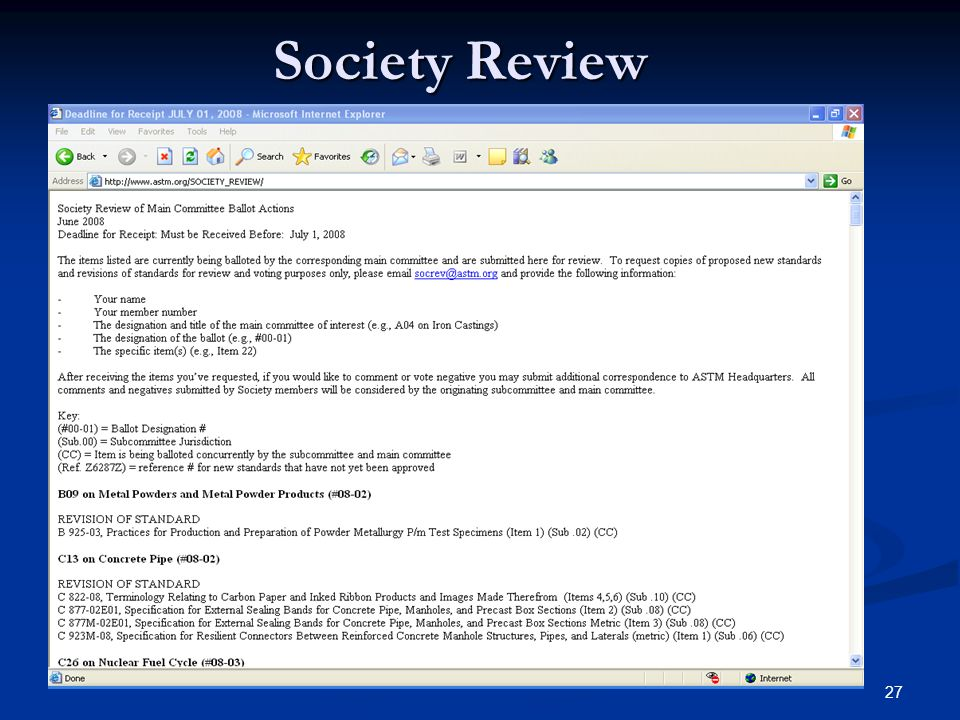 27 Society Review