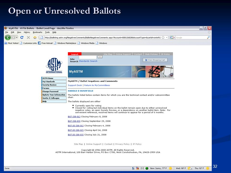 32 Open or Unresolved Ballots
