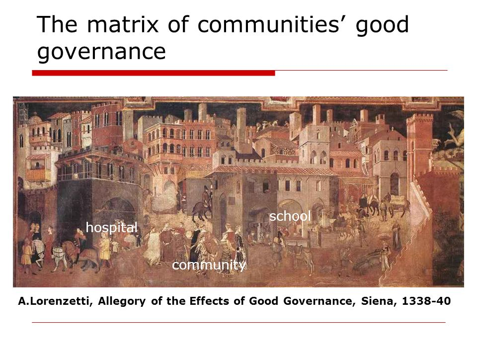 The matrix of communities good governance community school hospital A.Lorenzetti, Allegory of the Effects of Good Governance, Siena, 1338-40