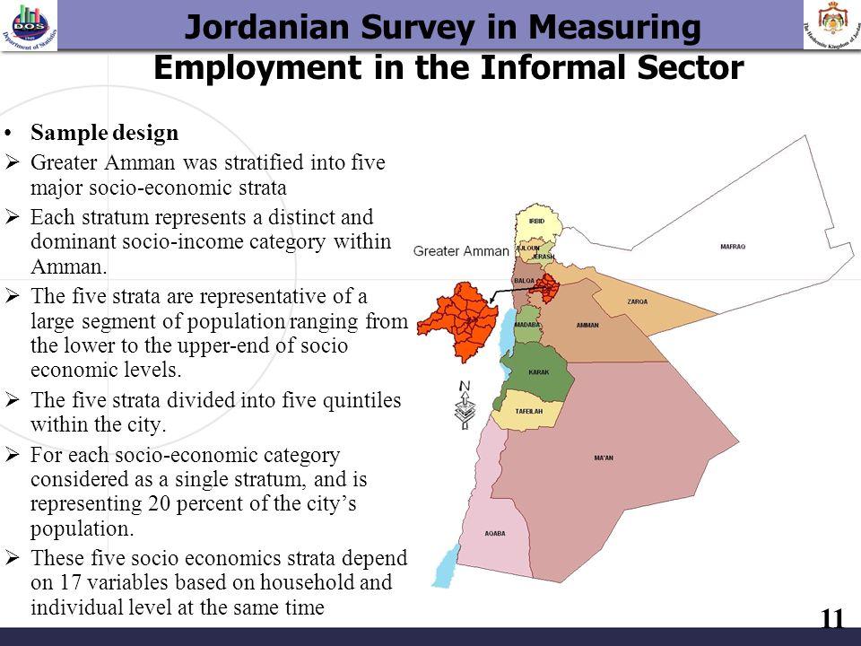 11 Sample design Greater Amman was stratified into five major socio-economic strata Each stratum represents a distinct and dominant socio-income categ