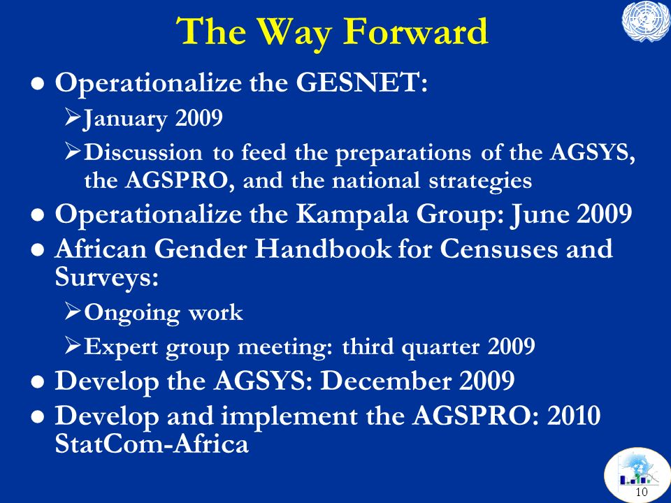 The Way Forward l Operationalize the GESNET: January 2009 Discussion to feed the preparations of the AGSYS, the AGSPRO, and the national strategies l Operationalize the Kampala Group: June 2009 l African Gender Handbook for Censuses and Surveys: Ongoing work Expert group meeting: third quarter 2009 l Develop the AGSYS: December 2009 l Develop and implement the AGSPRO: 2010 StatCom-Africa 10