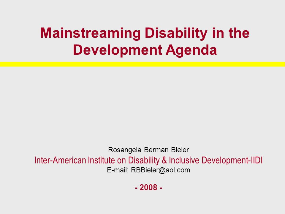 Full participation of persons with disabilities Disability mainstreaming requires that efforts be made to broaden the equitable participation of persons with disabilities at all levels of decision-making.