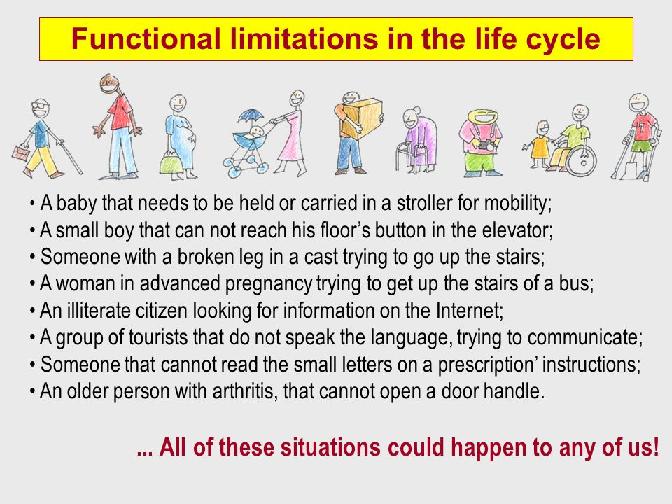 Functional limitations in the life cycle A baby that needs to be held or carried in a stroller for mobility; A small boy that can not reach his floors