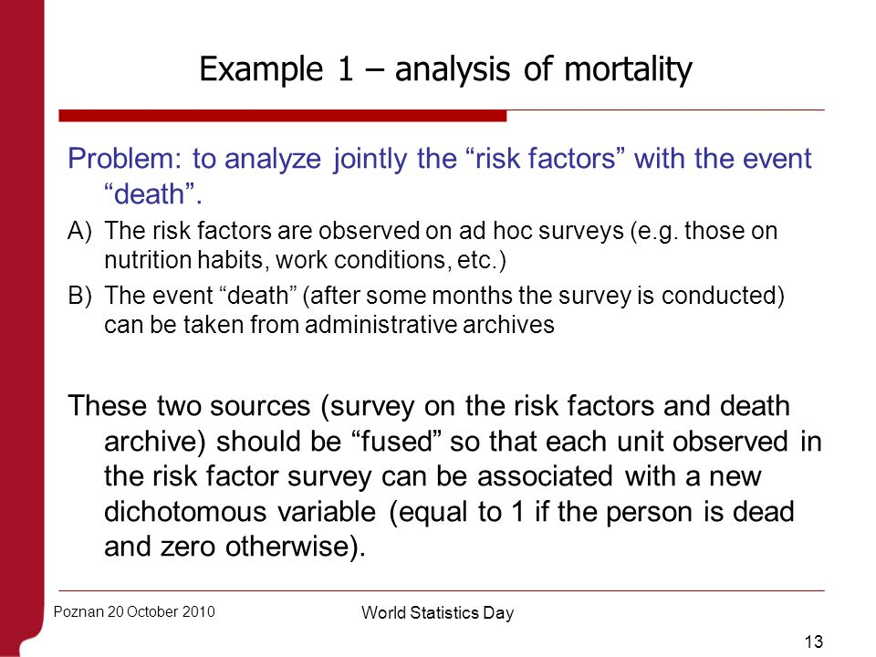 13 Poznan 20 October 2010 World Statistics Day Example 1 – analysis of mortality Problem: to analyze jointly the risk factors with the event death. A)