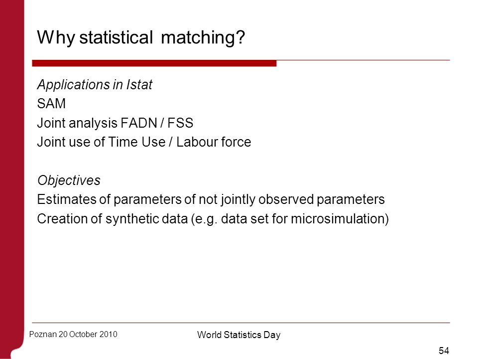 54 Poznan 20 October 2010 World Statistics Day Why statistical matching? Applications in Istat SAM Joint analysis FADN / FSS Joint use of Time Use / L