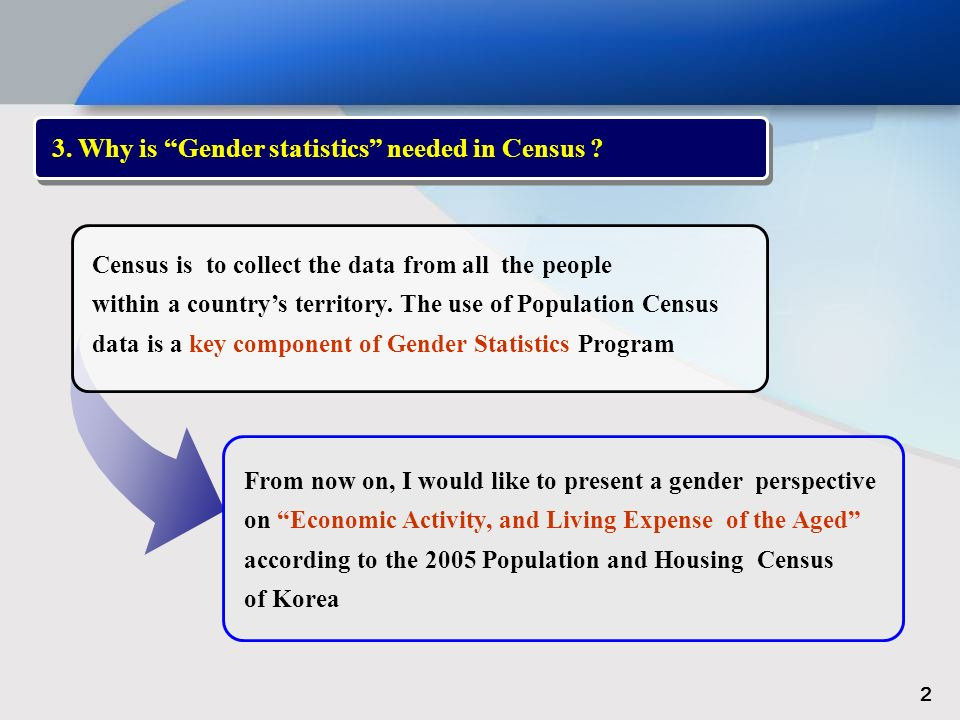3. Why is Gender statistics needed in Census .