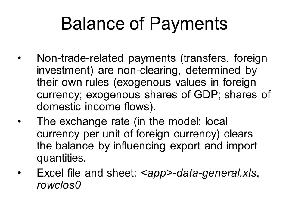 Balance of Payments Non-trade-related payments (transfers, foreign investment) are non-clearing, determined by their own rules (exogenous values in foreign currency; exogenous shares of GDP; shares of domestic income flows).