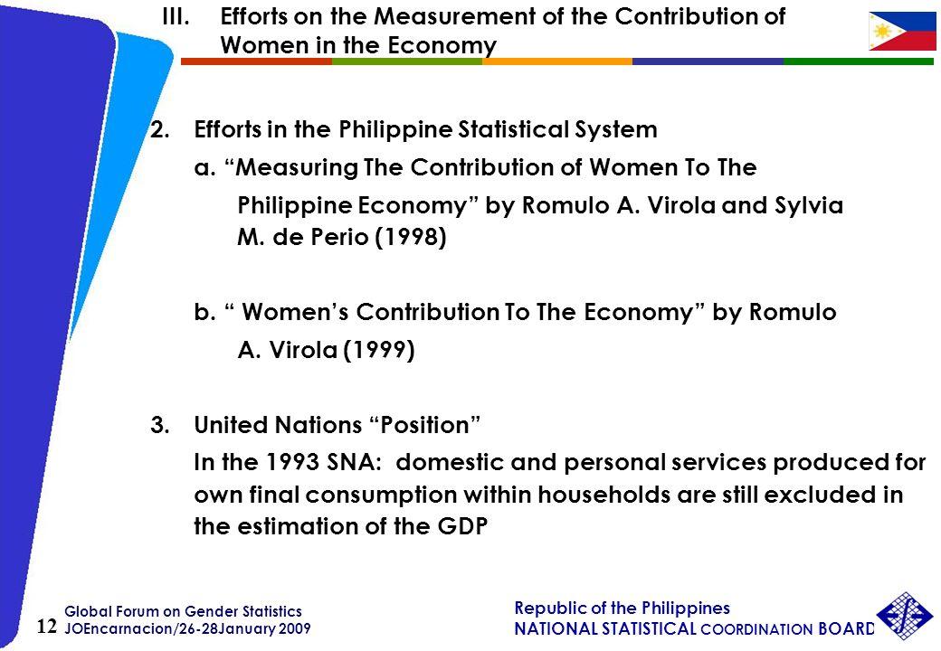 Global Forum on Gender Statistics JOEncarnacion/26-28January 2009 Republic of the Philippines NATIONAL STATISTICAL COORDINATION BOARD 12 2.Efforts in