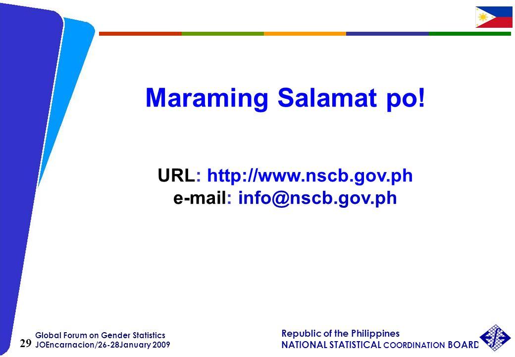 Global Forum on Gender Statistics JOEncarnacion/26-28January 2009 Republic of the Philippines NATIONAL STATISTICAL COORDINATION BOARD 29 Maraming Sala