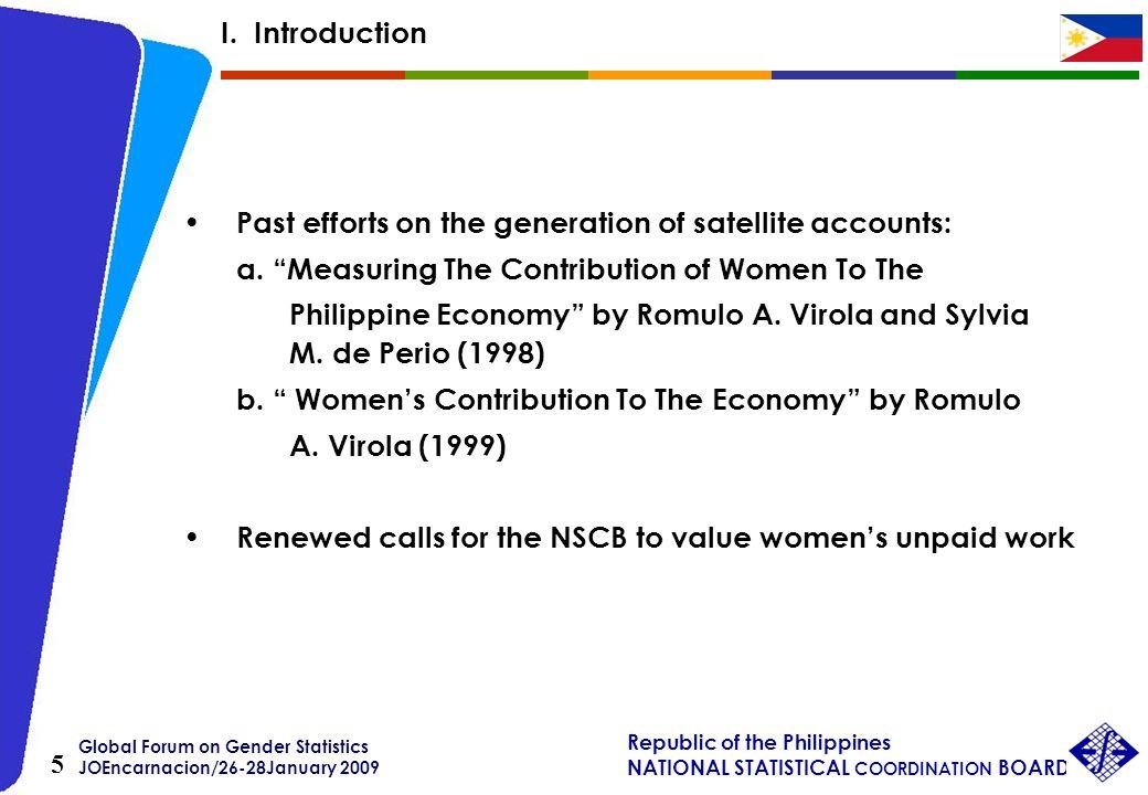 Global Forum on Gender Statistics JOEncarnacion/26-28January 2009 Republic of the Philippines NATIONAL STATISTICAL COORDINATION BOARD 5 Past efforts o