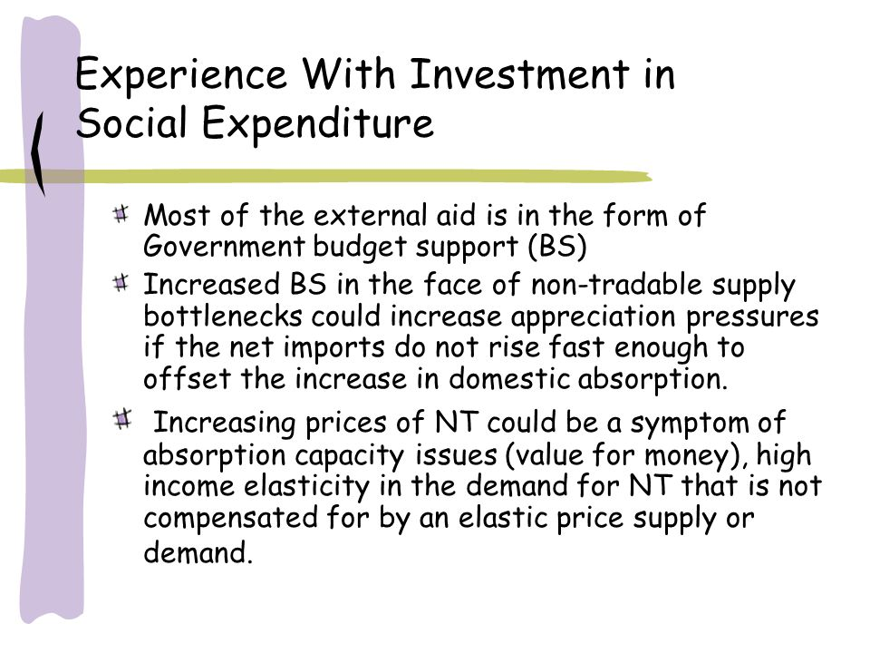 Experience With Investment in Social Expenditure Most of the external aid is in the form of Government budget support (BS) Increased BS in the face of non-tradable supply bottlenecks could increase appreciation pressures if the net imports do not rise fast enough to offset the increase in domestic absorption.