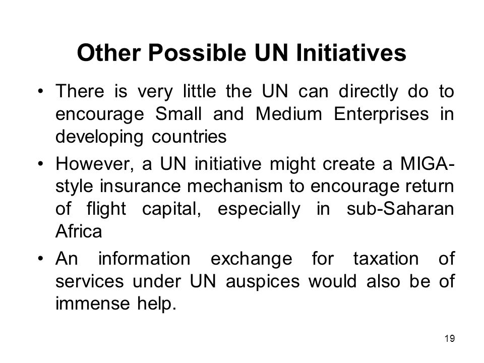 19 Other Possible UN Initiatives There is very little the UN can directly do to encourage Small and Medium Enterprises in developing countries However, a UN initiative might create a MIGA- style insurance mechanism to encourage return of flight capital, especially in sub-Saharan Africa An information exchange for taxation of services under UN auspices would also be of immense help.