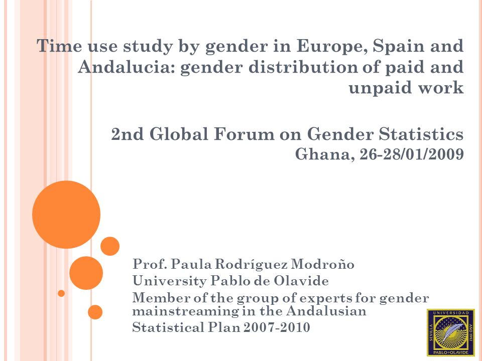 Time use study by gender in Europe, Spain and Andalucia: gender distribution of paid and unpaid work 2nd Global Forum on Gender Statistics Ghana, 26-2