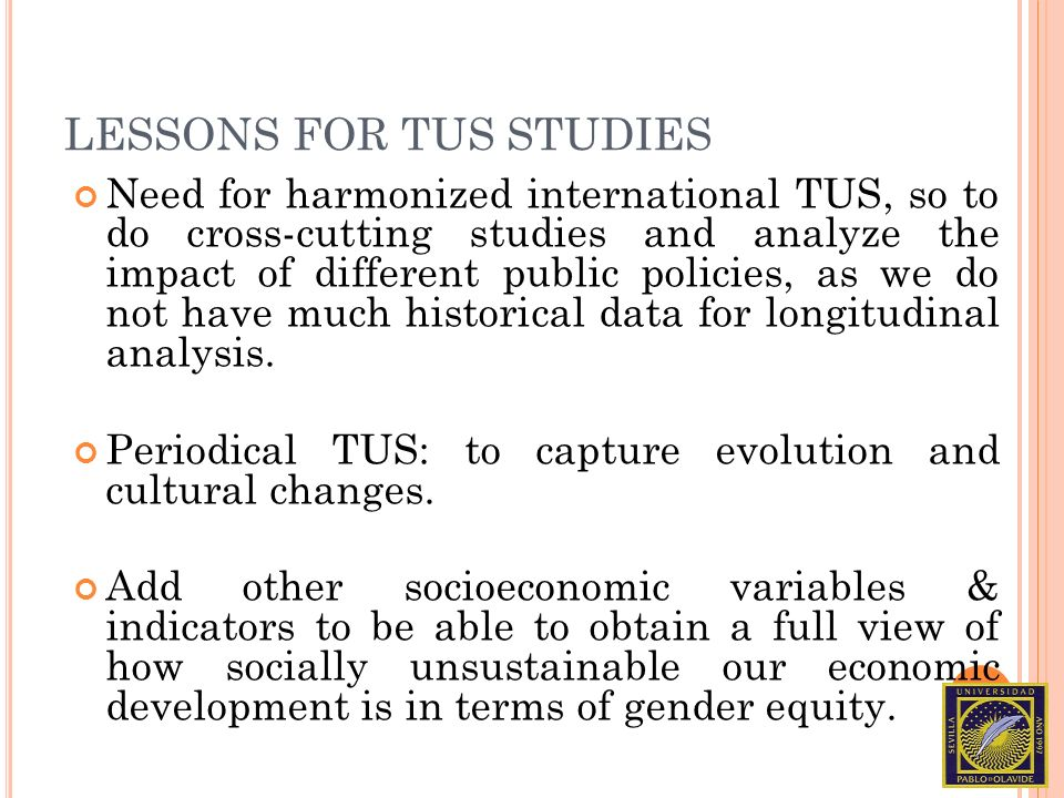 LESSONS FOR TUS STUDIES Need for harmonized international TUS, so to do cross-cutting studies and analyze the impact of different public policies, as we do not have much historical data for longitudinal analysis.