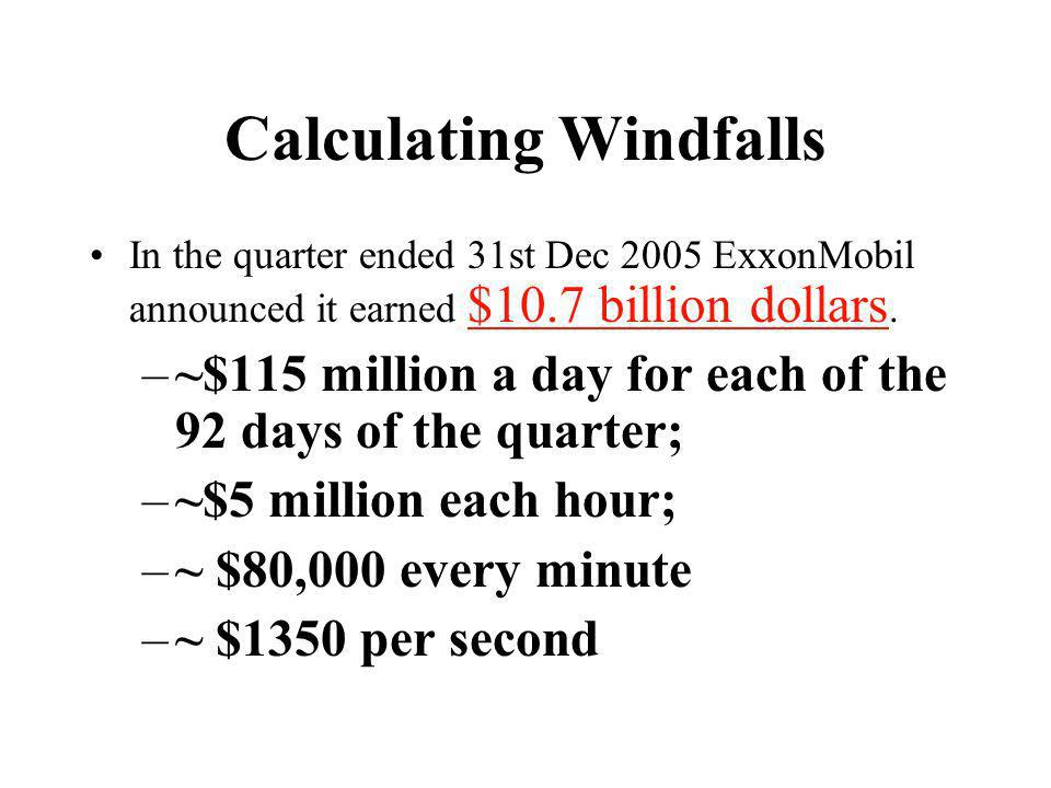 Calculating Windfalls In the quarter ended 31st Dec 2005 ExxonMobil announced it earned $10.7 billion dollars.