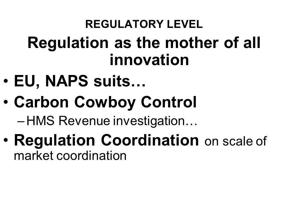 REGULATORY LEVEL Regulation as the mother of all innovation EU, NAPS suits… Carbon Cowboy Control –HMS Revenue investigation… Regulation Coordination