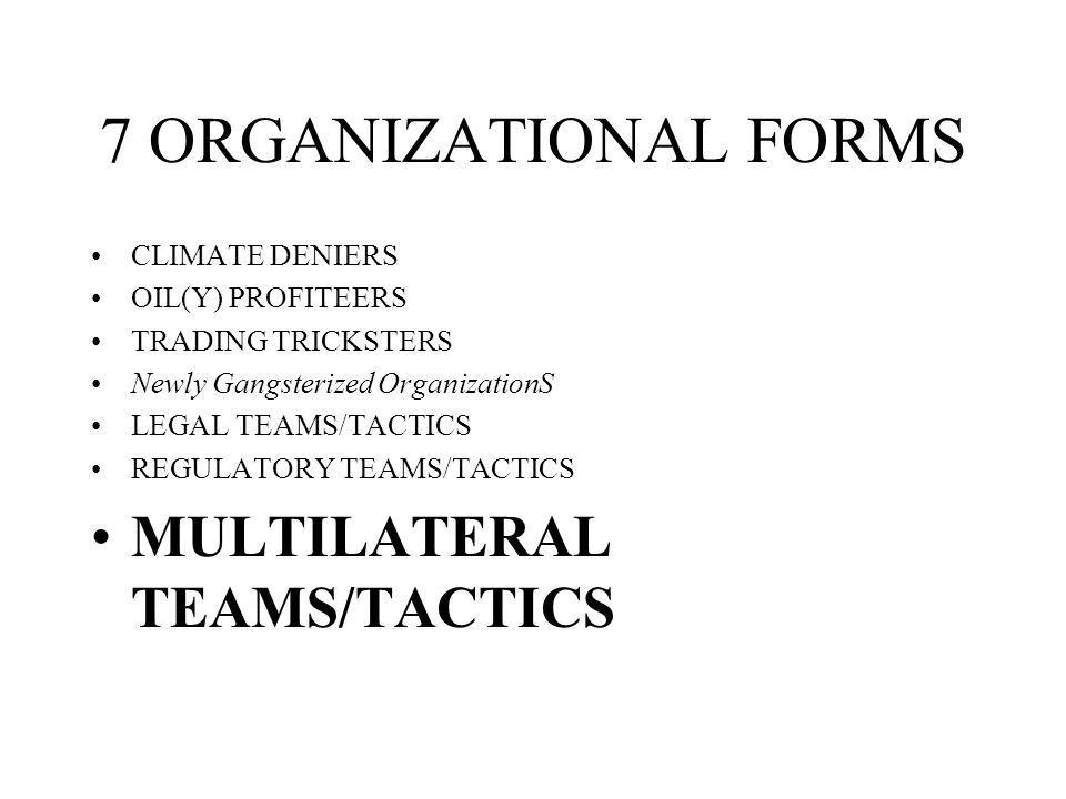7 ORGANIZATIONAL FORMS CLIMATE DENIERS OIL(Y) PROFITEERS TRADING TRICKSTERS Newly Gangsterized OrganizationS LEGAL TEAMS/TACTICS REGULATORY TEAMS/TACTICS MULTILATERAL TEAMS/TACTICS