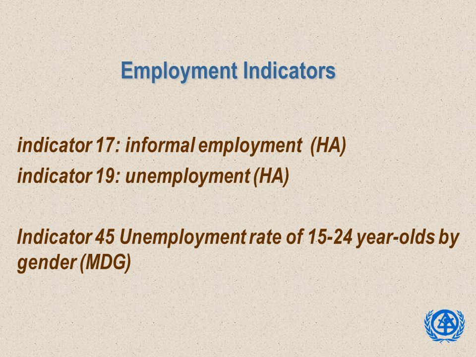 Employment Indicators indicator 17: informal employment (HA) indicator 19: unemployment (HA) Indicator 45 Unemployment rate of 15-24 year-olds by gend