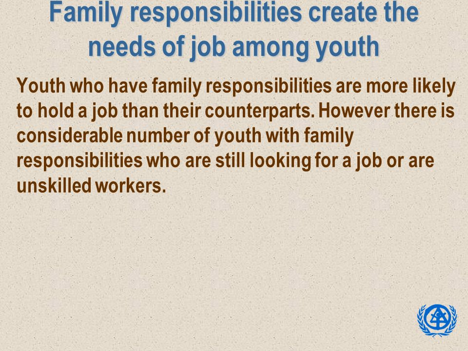 Family responsibilities create the needs of job among youth Youth who have family responsibilities are more likely to hold a job than their counterpar