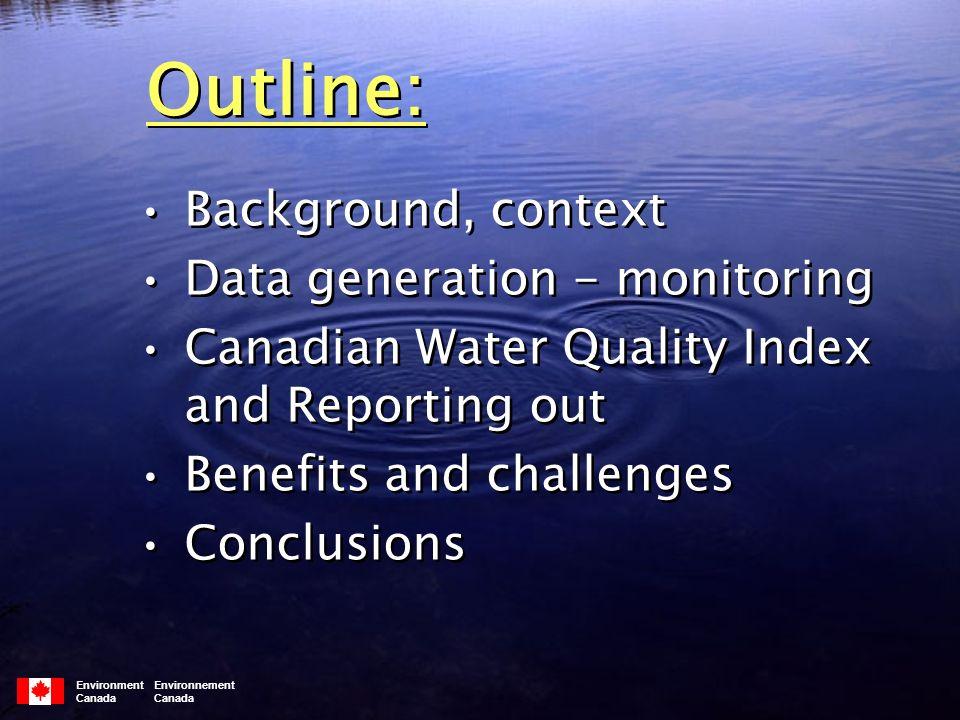 CWQI rating system Environment Environnement Canada