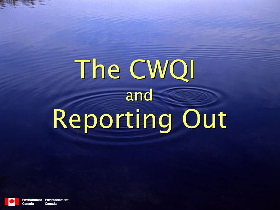 Environment Environnement Canada The CWQI and Reporting Out The CWQI and Reporting Out