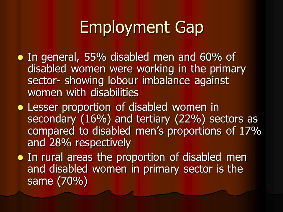 Employment Gap In general, 55% disabled men and 60% of disabled women were working in the primary sector- showing lobour imbalance against women with disabilities In general, 55% disabled men and 60% of disabled women were working in the primary sector- showing lobour imbalance against women with disabilities Lesser proportion of disabled women in secondary (16%) and tertiary (22%) sectors as compared to disabled mens proportions of 17% and 28% respectively Lesser proportion of disabled women in secondary (16%) and tertiary (22%) sectors as compared to disabled mens proportions of 17% and 28% respectively In rural areas the proportion of disabled men and disabled women in primary sector is the same (70%) In rural areas the proportion of disabled men and disabled women in primary sector is the same (70%)
