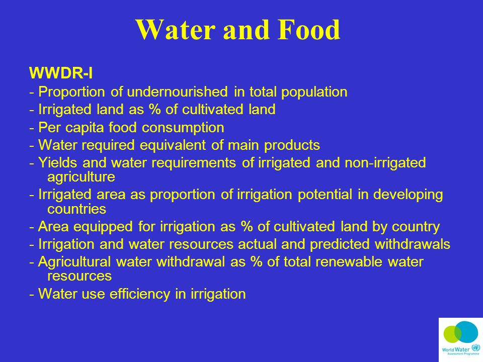 Water and Food WWDR-I - Proportion of undernourished in total population - Irrigated land as % of cultivated land - Per capita food consumption - Water required equivalent of main products - Yields and water requirements of irrigated and non-irrigated agriculture - Irrigated area as proportion of irrigation potential in developing countries - Area equipped for irrigation as % of cultivated land by country - Irrigation and water resources actual and predicted withdrawals - Agricultural water withdrawal as % of total renewable water resources - Water use efficiency in irrigation