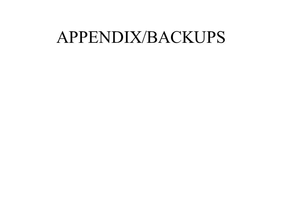 APPENDIX/BACKUPS