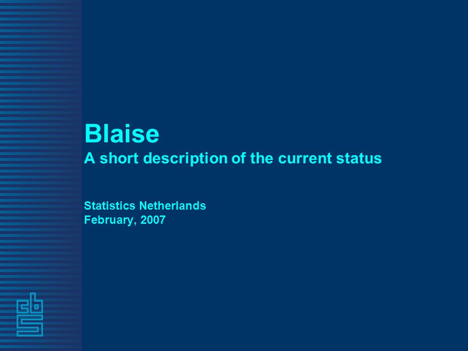 Blaise A short description of the current status Statistics Netherlands February, 2007