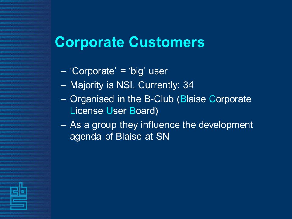 Corporate Customers –Corporate = big user –Majority is NSI.