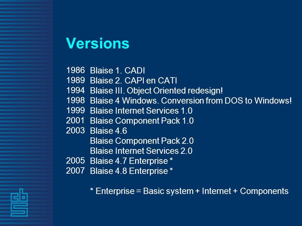 Versions 1986 1989 1994 1998 1999 2001 2003 2005 2007 Blaise 1. CADI Blaise 2. CAPI en CATI Blaise III. Object Oriented redesign! Blaise 4 Windows. Co