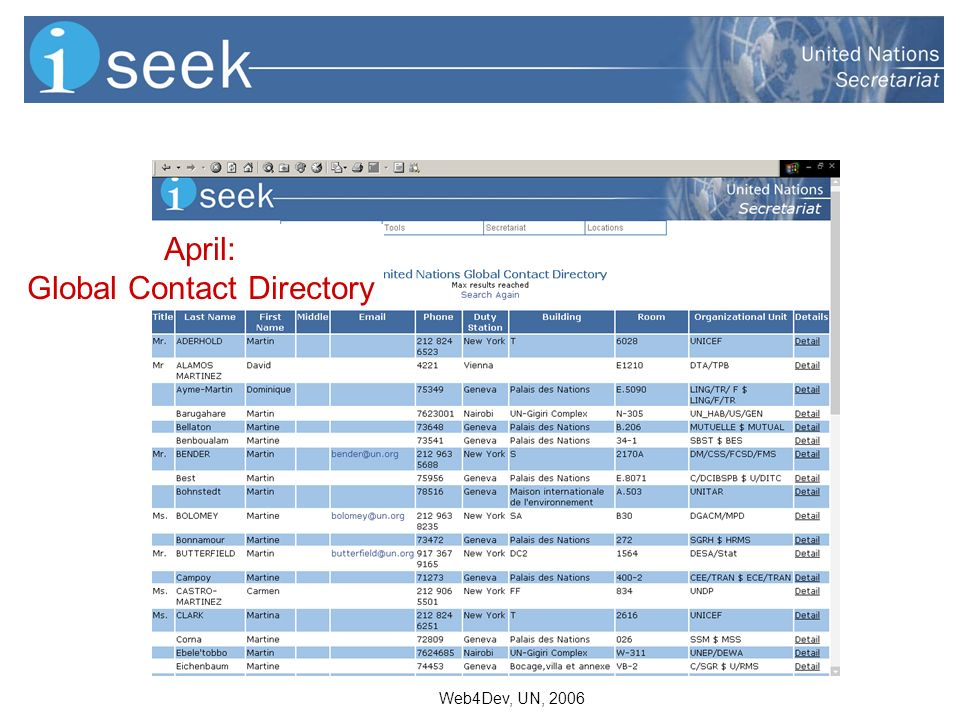 Web4Dev, UN, 2006 April: Global Contact Directory