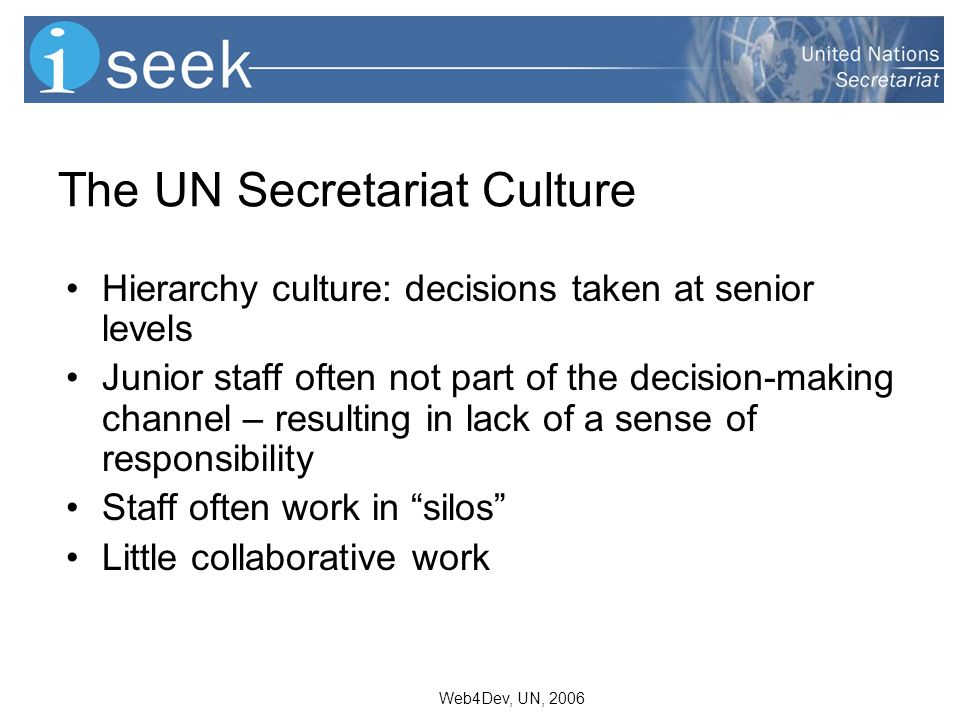 Web4Dev, UN, 2006 The UN Secretariat Culture Hierarchy culture: decisions taken at senior levels Junior staff often not part of the decision-making channel – resulting in lack of a sense of responsibility Staff often work in silos Little collaborative work
