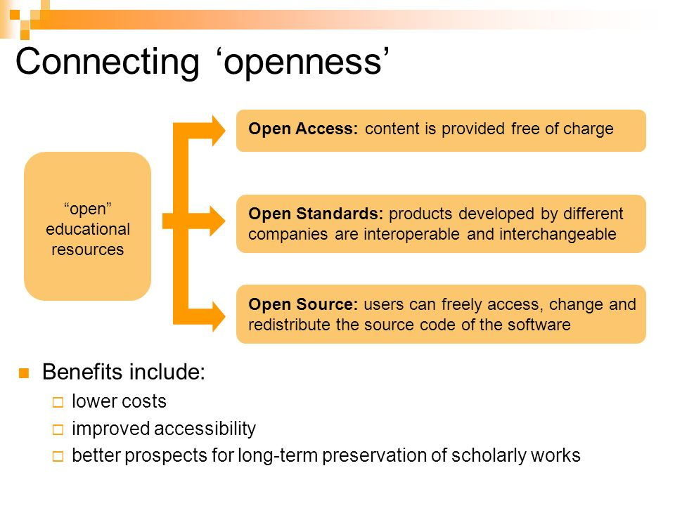 Connecting openness Open Standards: products developed by different companies are interoperable and interchangeable open educational resources Open Access: content is provided free of charge Open Source: users can freely access, change and redistribute the source code of the software Benefits include: lower costs improved accessibility better prospects for long-term preservation of scholarly works